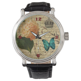 crown French botanical art butterfly hydrangea Wrist Watches