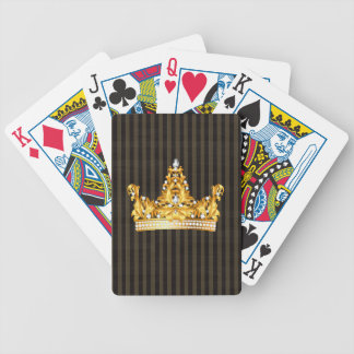 crown gold brown mustard stripes royal noble bicycle playing cards