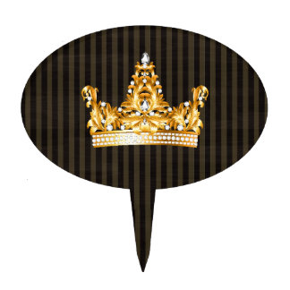 crown gold brown mustard stripes royal noble cake topper