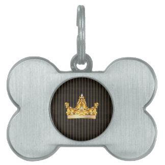 crown gold brown mustard stripes royal noble pet name tag