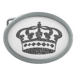 Crown graphic design oval belt buckles