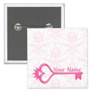 Crown Heart Key 2 Inch Square Button