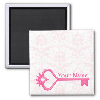 Crown Heart Key 2 Inch Square Magnet
