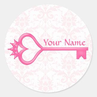 Crown Heart Key Classic Round Sticker