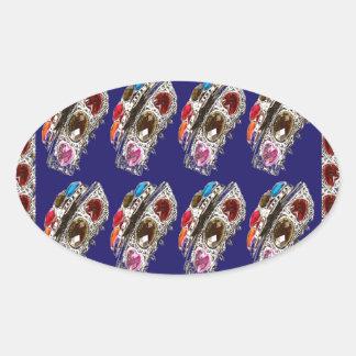 Crown Imitation Jewel Pattern KIDS Partyroom FUN Oval Sticker