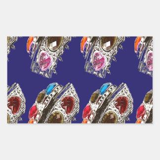 Crown Imitation Jewel Pattern KIDS Partyroom FUN Rectangular Sticker