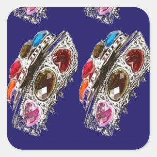 Crown Imitation Jewel Pattern KIDS Partyroom FUN Square Sticker
