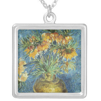 Crown Imperial Fritillaries in a Copper Vase Square Pendant Necklace