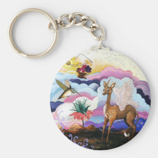 """""""Crown Imperial"""" Unicorn and Hummingbird Keychain"""