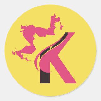 Crown K Classic Round Sticker