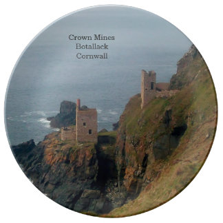 Crown Mines Botallack Cornwall England Porcelain Plate