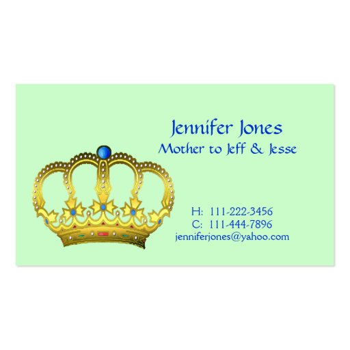 Crown Mommy Calling Card Business Card Template