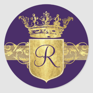 Crown Monogram Gold Tones Stickers