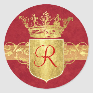 Crown Monogram in Gold Tones Stickers