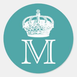 Crown Monogram Round Sticker