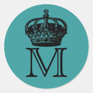 Crown Monogram Round Stickers