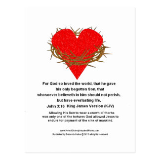 Crown of Thorns Around a Heart Postcard