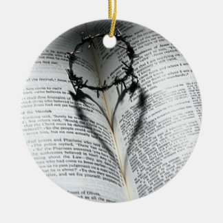 Crown of Thorns Heart and Bible Ceramic Ornament
