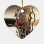 Crown-of-Thorns Double-Sided Heart Ceramic Christmas Ornament