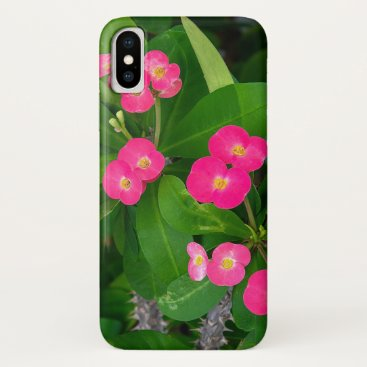 Crown of Thorns pink blossoms iPhone X Case