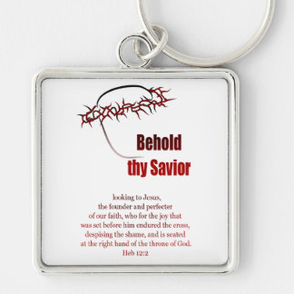 Crown of Thorns Silver-Colored Square Keychain