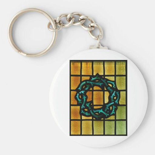 Crown of Thorns Stained Glass Window Art Keychain