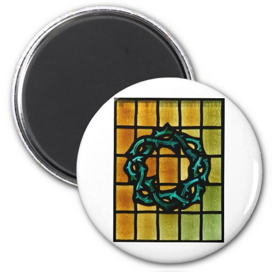 Crown of Thorns Stained Glass Window Art Magnet