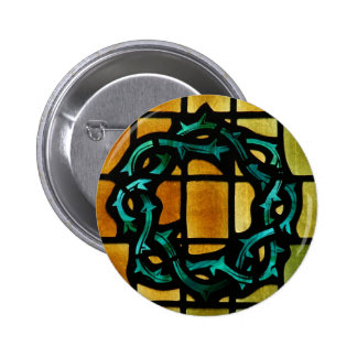 Crown of Thorns Stained Glass Window Art Pinback Button