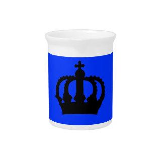 Crown on Blue Beverage Pitcher