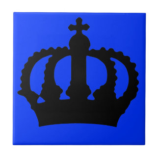 Crown on Blue Small Square Tile