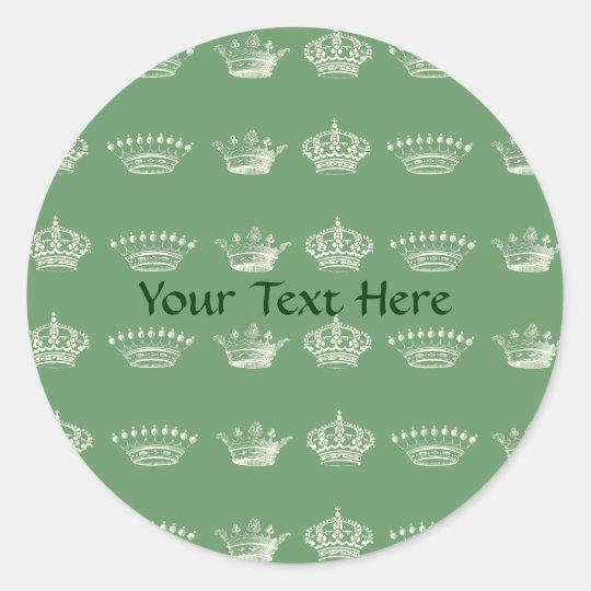 Crown Pattern in White Classic Round Sticker