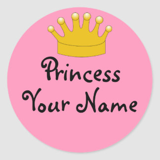 Crown Pink Princess Your Name Stickers Personalize