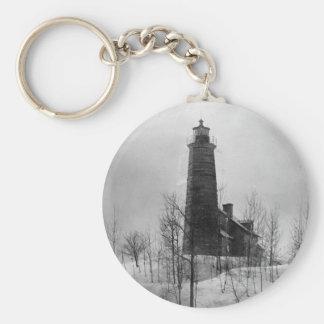 Crown Point Lighthouse Basic Round Button Keychain