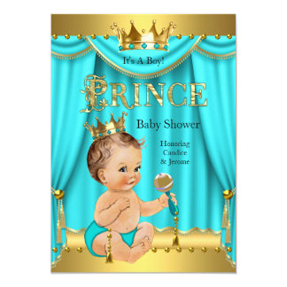 Crown Prince Baby Shower Gold Aqua Teal Brunette Card