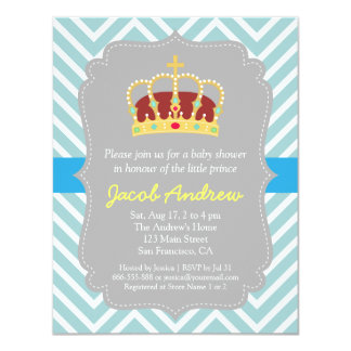 Crown Prince Themed Baby Shower Invitation