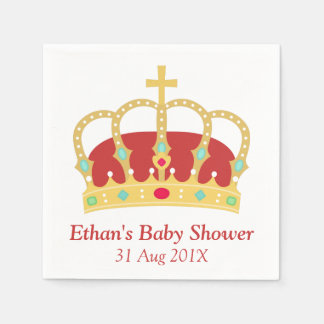 Crown Prince Themed Baby Shower Party Standard Cocktail Napkin