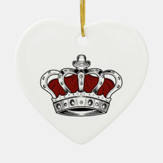 Crown - Red Double-Sided Heart Ceramic Christmas Ornament