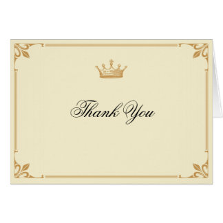 Crown Regency in Gold and Ivory Thank You Card