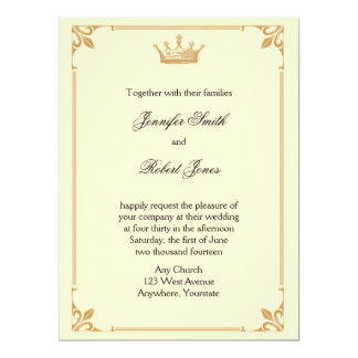 Crown Regency in Gold and Ivory Wedding Personalized Announcement