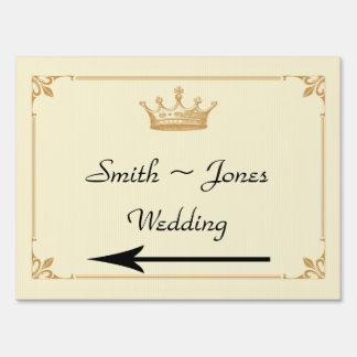 Crown Regency in Gold Ivory Wedding Direction Sign