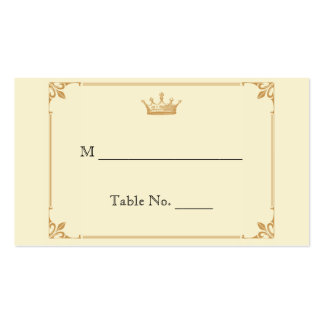 Crown Regency in Gold Ivory Wedding Place Cards Double-Sided Standard Business Cards (Pack Of 100)