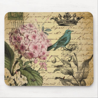 crown script hydrangea bird french botanical mouse pad