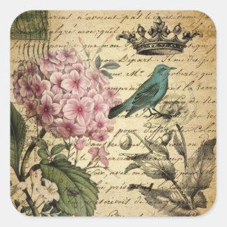 crown script hydrangea bird french botanical square sticker