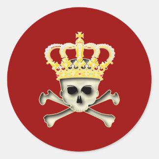 Crown skull head crown skull classic round sticker