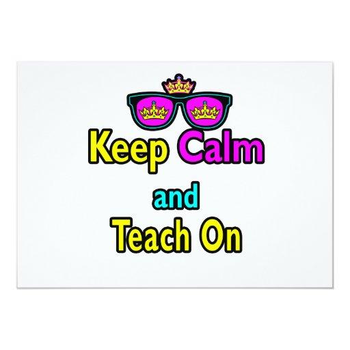 Crown Sunglasses Keep Calm And Teach On 5x7 Paper Invitation Card