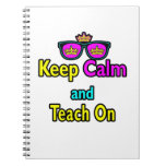 Crown Sunglasses Keep Calm And Teach On Notebooks