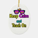 Crown Sunglasses Keep Calm And Teach On Christmas Tree Ornaments