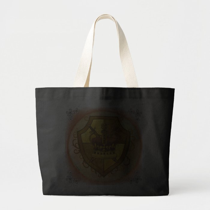 Crown Sword Shield Large dark Tote Bag