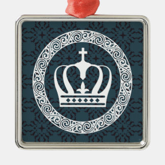 Crown White on Background Vector art Metal Ornament