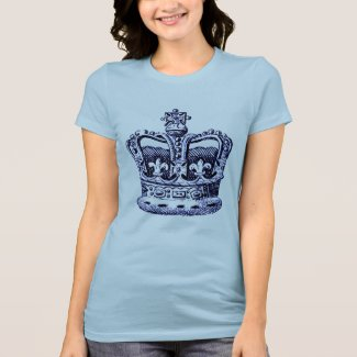 CROWN WITH FLEUR DE LIS AND CROSSES PRINT T-Shirt